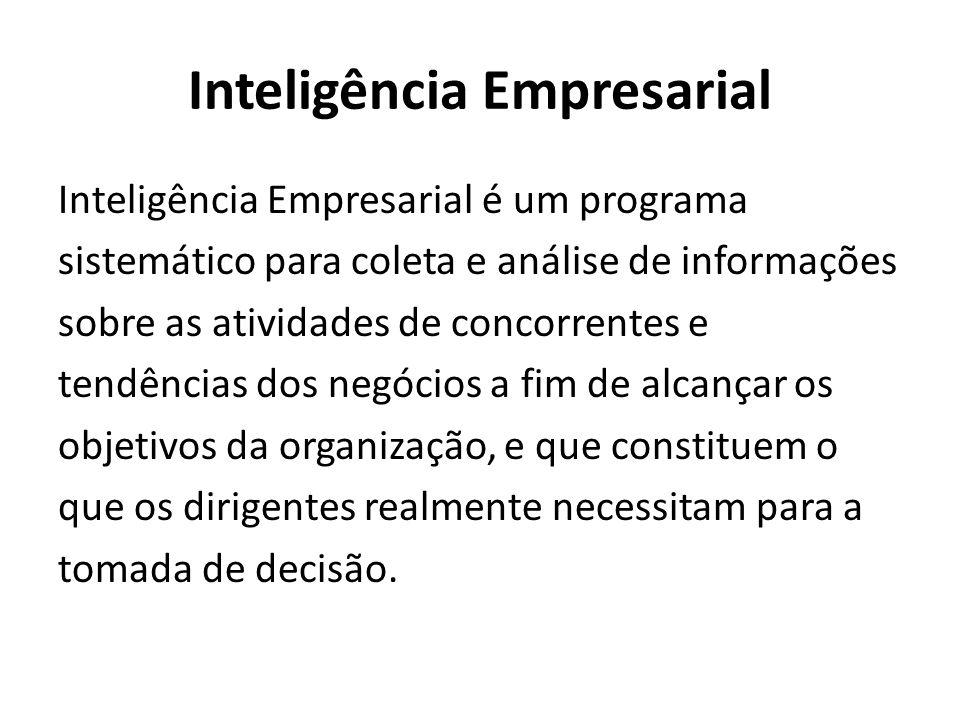 Inteligência Empresarial Inteligência Empresarial é um programa sistemático para coleta e análise de informações sobre as atividades de concorrentes e