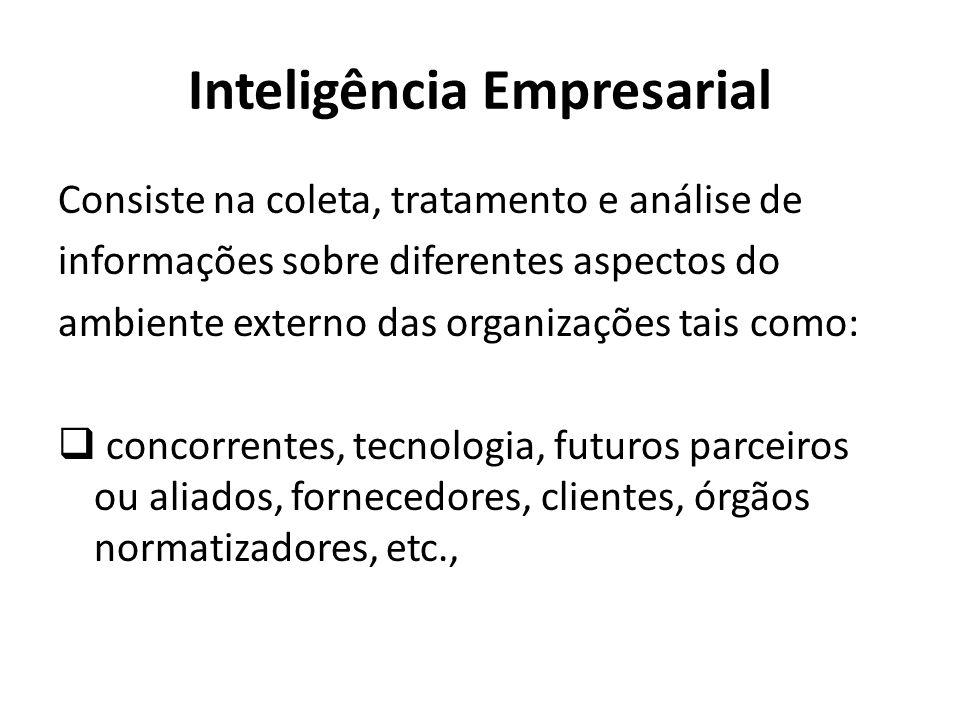 Inteligência Empresarial Consiste na coleta, tratamento e análise de informações sobre diferentes aspectos do ambiente externo das organizações tais como: concorrentes, tecnologia, futuros parceiros ou aliados, fornecedores, clientes, órgãos normatizadores, etc.,