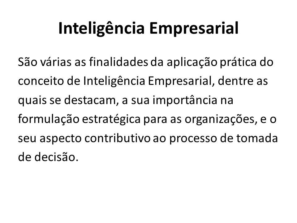 Inteligência Empresarial São várias as finalidades da aplicação prática do conceito de Inteligência Empresarial, dentre as quais se destacam, a sua importância na formulação estratégica para as organizações, e o seu aspecto contributivo ao processo de tomada de decisão.