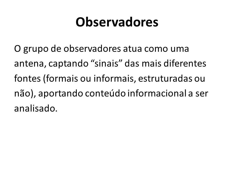 Observadores O grupo de observadores atua como uma antena, captando sinais das mais diferentes fontes (formais ou informais, estruturadas ou não), aportando conteúdo informacional a ser analisado.