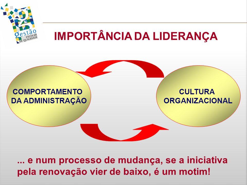 COMPORTAMENTO DA ADMINISTRAÇÃO CULTURA ORGANIZACIONAL IMPORTÂNCIA DA LIDERANÇA... e num processo de mudança, se a iniciativa pela renovação vier de ba