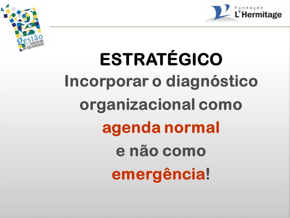 ESTRATÉGICO Incorporar o diagnóstico organizacional como agenda normal e não como emergência!