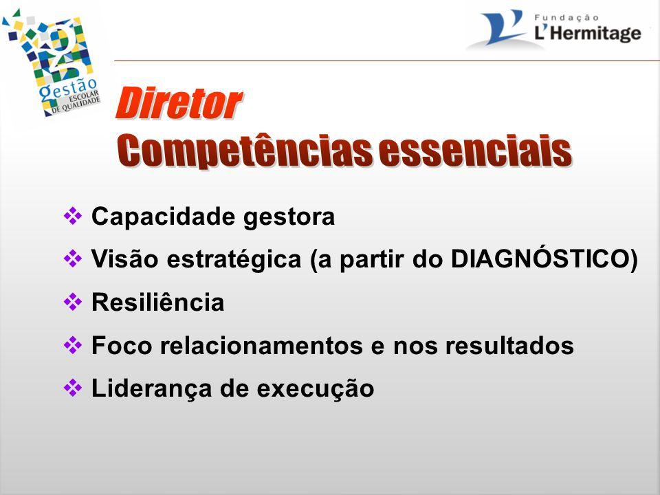 Capacidade gestora Visão estratégica (a partir do DIAGNÓSTICO) Resiliência Foco relacionamentos e nos resultados Liderança de execução