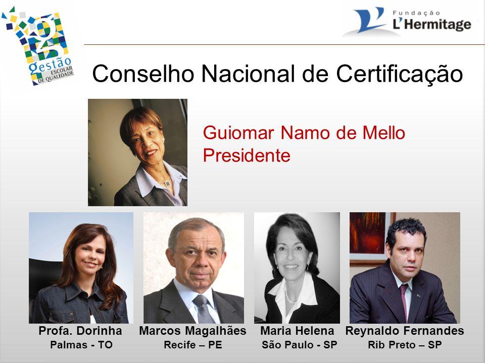 Conselho Nacional de Certificação Guiomar Namo de Mello Presidente Profa. Dorinha Marcos Magalhães Maria Helena Reynaldo Fernandes Palmas - TO Recife