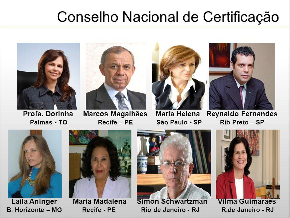 Conselho Nacional de Certificação Profa. Dorinha Marcos Magalhães Maria Helena Reynaldo Fernandes Palmas - TO Recife – PE São Paulo - SP Rib Preto – S