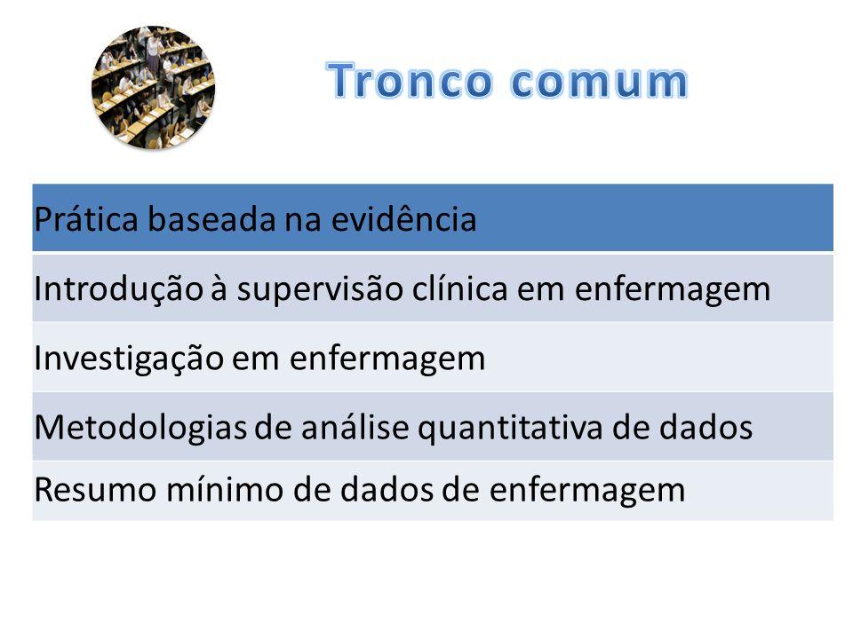 Prática baseada na evidência Introdução à supervisão clínica em enfermagem Investigação em enfermagem Metodologias de análise quantitativa de dados Resumo mínimo de dados de enfermagem