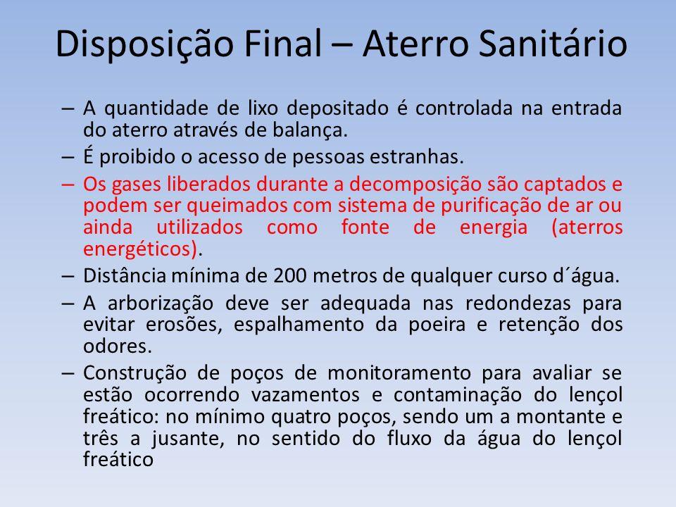Disposição Final – Aterro Sanitário – A quantidade de lixo depositado é controlada na entrada do aterro através de balança.
