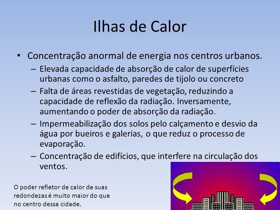 Ilhas de Calor Concentração anormal de energia nos centros urbanos.