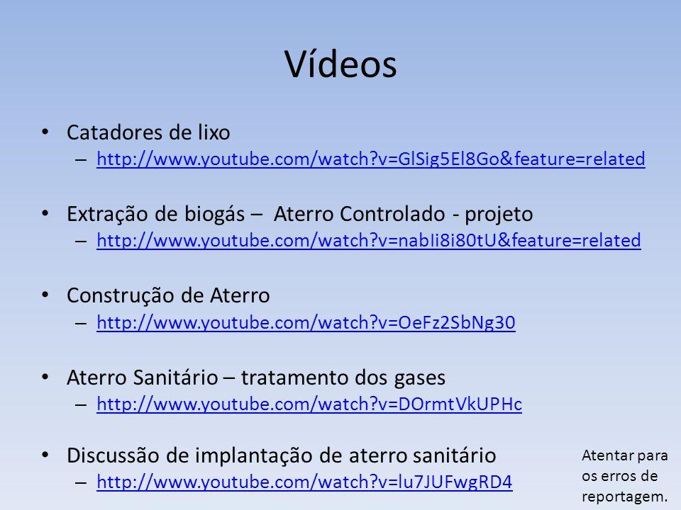 Vídeos Catadores de lixo – http://www.youtube.com/watch?v=GlSig5El8Go&feature=related http://www.youtube.com/watch?v=GlSig5El8Go&feature=related Extração de biogás – Aterro Controlado - projeto – http://www.youtube.com/watch?v=nabIi8i80tU&feature=related http://www.youtube.com/watch?v=nabIi8i80tU&feature=related Construção de Aterro – http://www.youtube.com/watch?v=OeFz2SbNg30 http://www.youtube.com/watch?v=OeFz2SbNg30 Aterro Sanitário – tratamento dos gases – http://www.youtube.com/watch?v=DOrmtVkUPHc http://www.youtube.com/watch?v=DOrmtVkUPHc Discussão de implantação de aterro sanitário – http://www.youtube.com/watch?v=lu7JUFwgRD4 http://www.youtube.com/watch?v=lu7JUFwgRD4 Atentar para os erros de reportagem.