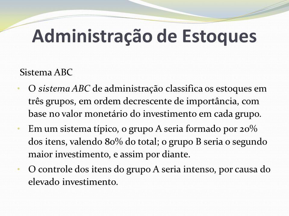 Administração de Estoques Sistema ABC O sistema ABC de administração classifica os estoques em três grupos, em ordem decrescente de importância, com b