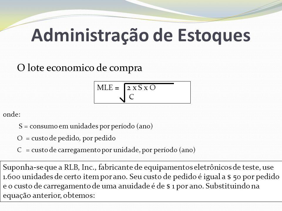 Administração de Estoques O lote economico de compra MLE = 2 x S x O C onde: S = consumo em unidades por período (ano) O= custo de pedido, por pedido