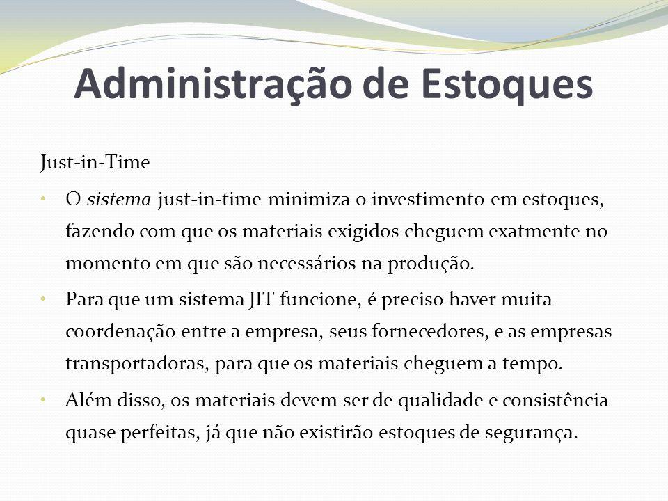 Administração de Estoques Just-in-Time O sistema just-in-time minimiza o investimento em estoques, fazendo com que os materiais exigidos cheguem exatm