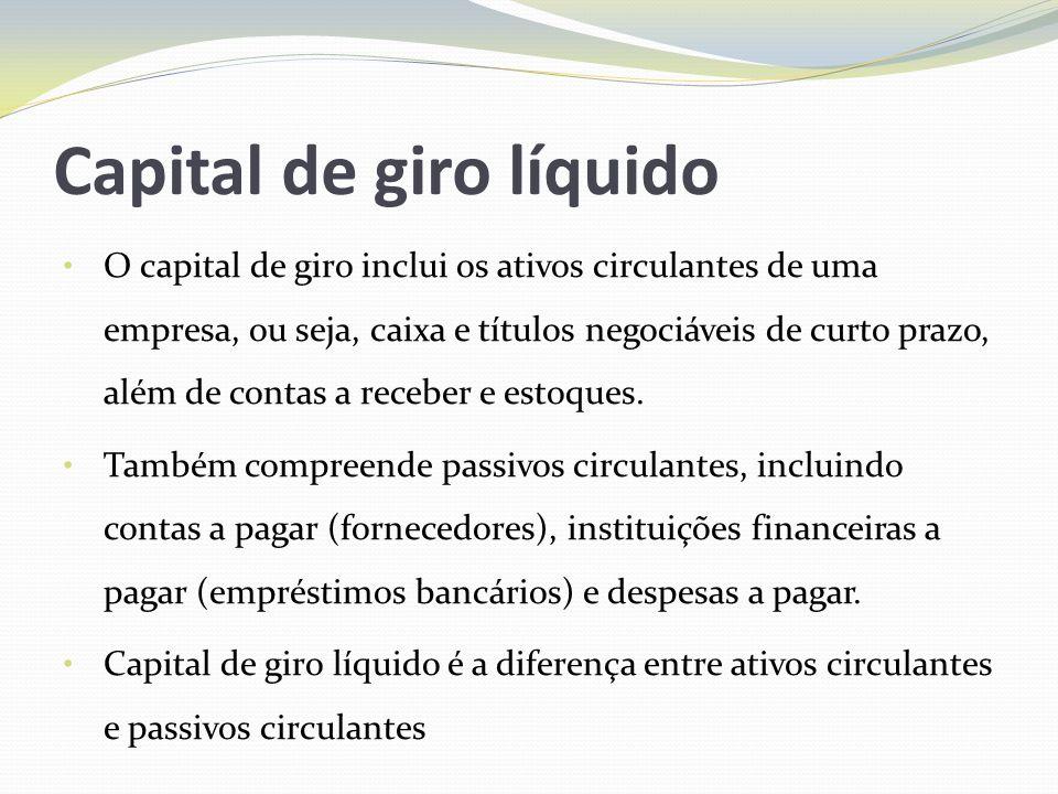Capital de giro líquido O capital de giro inclui os ativos circulantes de uma empresa, ou seja, caixa e títulos negociáveis de curto prazo, além de co