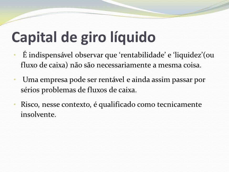 Capital de giro líquido É indispensável observar que rentabilidade e liquidez(ou fluxo de caixa) não são necessariamente a mesma coisa. Uma empresa po