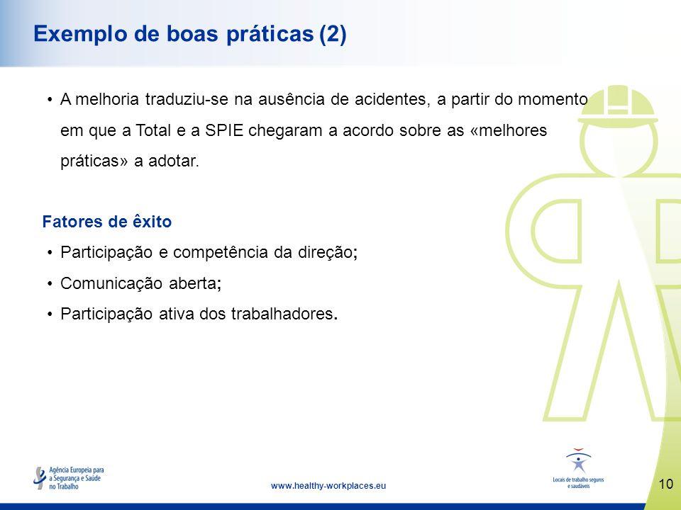 10 www.healthy-workplaces.eu Exemplo de boas práticas (2) A melhoria traduziu-se na ausência de acidentes, a partir do momento em que a Total e a SPIE