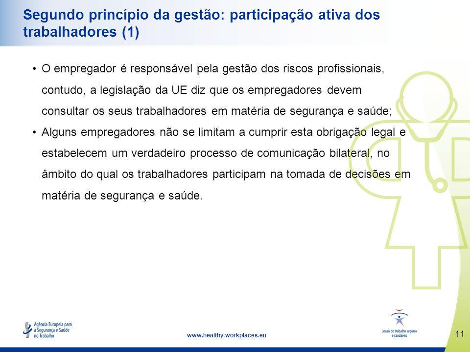 11 www.healthy-workplaces.eu Segundo princípio da gestão: participação ativa dos trabalhadores (1) O empregador é responsável pela gestão dos riscos p
