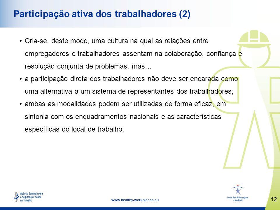 12 www.healthy-workplaces.eu Participação ativa dos trabalhadores (2) Cria-se, deste modo, uma cultura na qual as relações entre empregadores e trabal