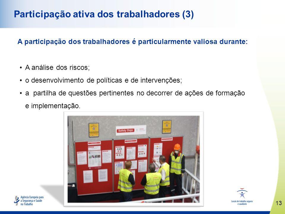 13 www.healthy-workplaces.eu Participação ativa dos trabalhadores (3) A participação dos trabalhadores é particularmente valiosa durante: A análise do