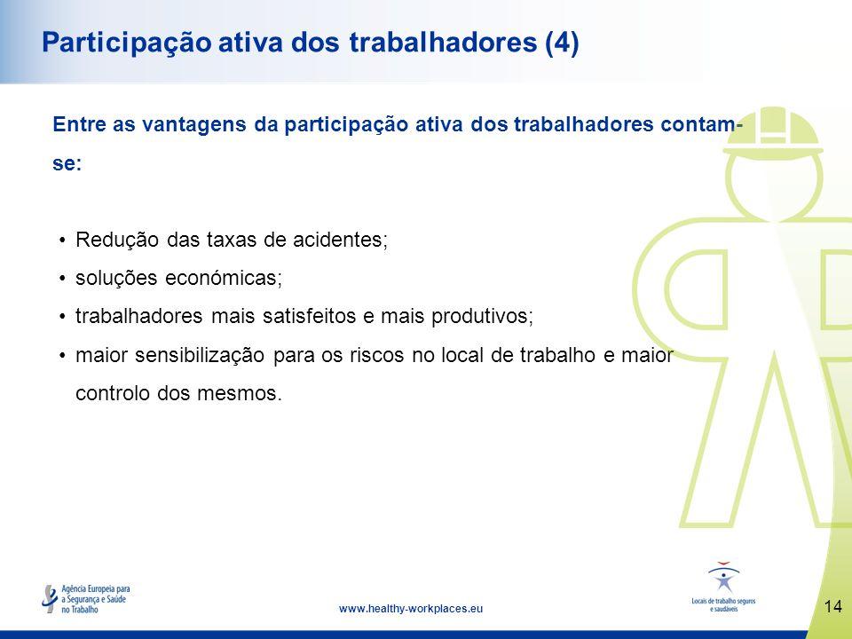 14 www.healthy-workplaces.eu Participação ativa dos trabalhadores (4) Entre as vantagens da participação ativa dos trabalhadores contam- se: Redução d