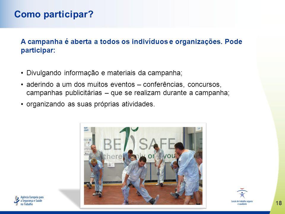 www.healthy-workplaces.eu A campanha é aberta a todos os indivíduos e organizações. Pode participar: Divulgando informação e materiais da campanha; ad