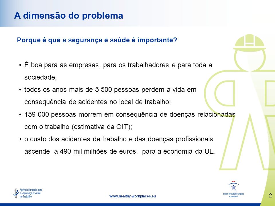 2 www.healthy-workplaces.eu A dimensão do problema Porque é que a segurança e saúde é importante? É boa para as empresas, para os trabalhadores e para