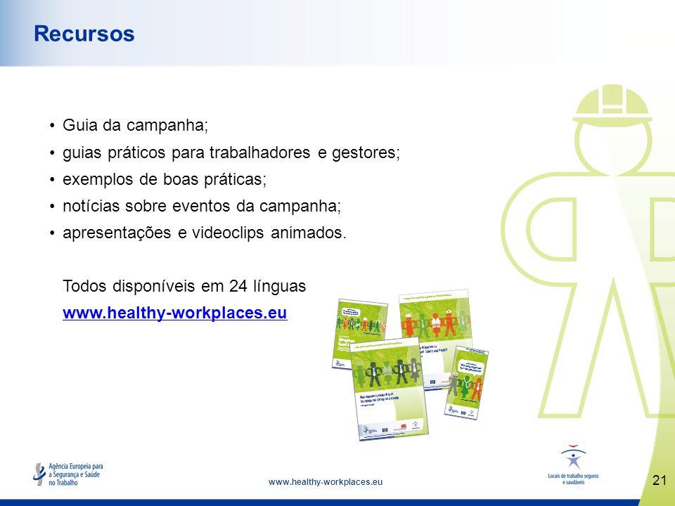 www.healthy-workplaces.eu Guia da campanha; guias práticos para trabalhadores e gestores; exemplos de boas práticas; notícias sobre eventos da campanh