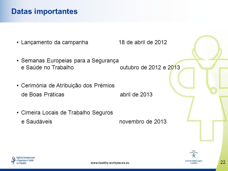 www.healthy-workplaces.eu Lançamento da campanha 18 de abril de 2012 Semanas Europeias para a Segurança e Saúde no Trabalho outubro de 2012 e 2013 Cer