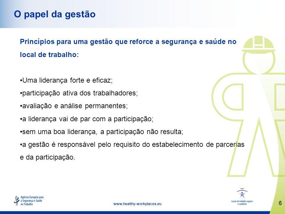 www.healthy-workplaces.eu Principais pontos fortes: pontos focais nacionais e redes tripartidas.
