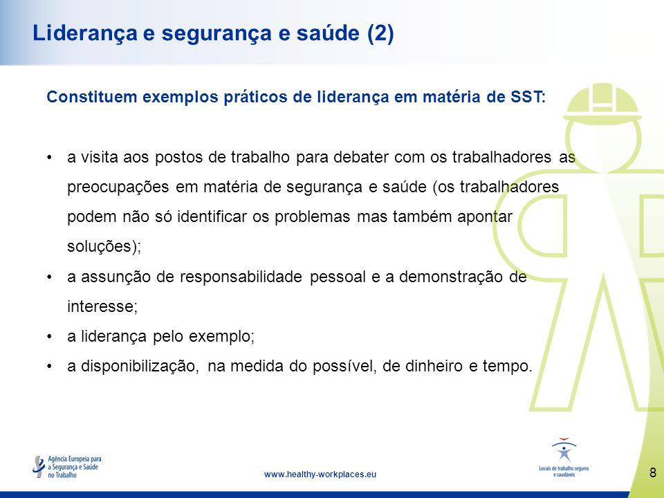 8 www.healthy-workplaces.eu Liderança e segurança e saúde (2) Constituem exemplos práticos de liderança em matéria de SST: a visita aos postos de trab
