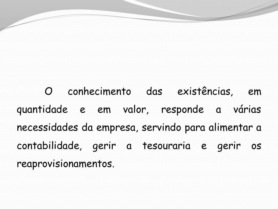 O conhecimento das existências, em quantidade e em valor, responde a várias necessidades da empresa, servindo para alimentar a contabilidade, gerir a