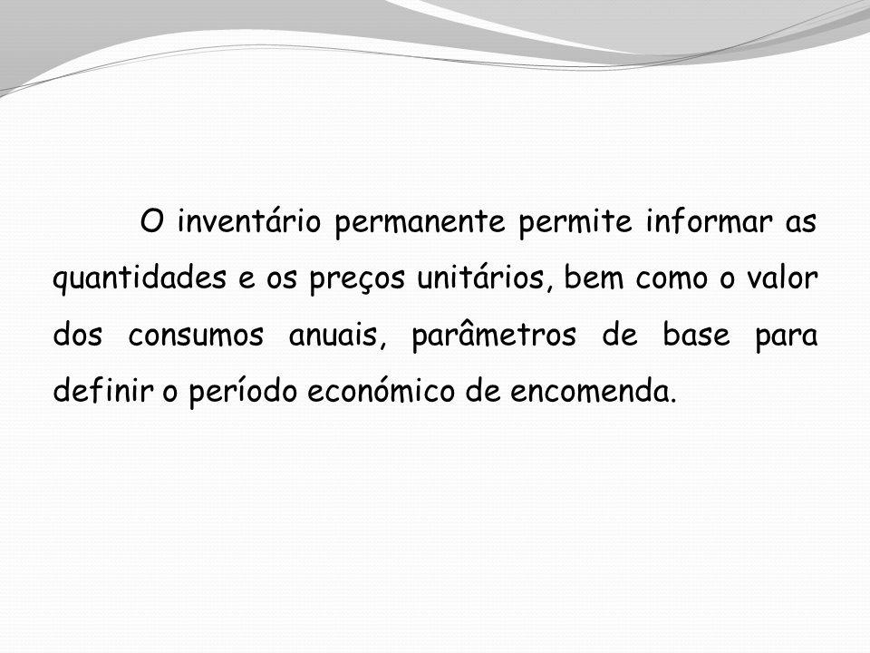 O inventário permanente permite informar as quantidades e os preços unitários, bem como o valor dos consumos anuais, parâmetros de base para definir o