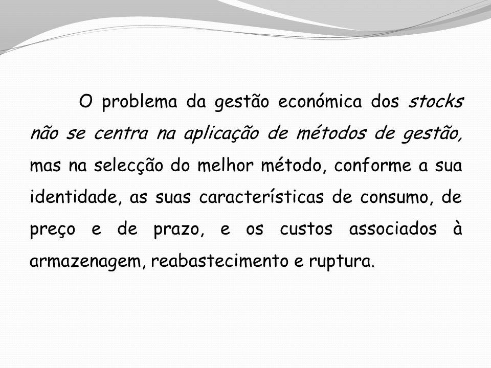 O problema da gestão económica dos stocks não se centra na aplicação de métodos de gestão, mas na selecção do melhor método, conforme a sua identidade