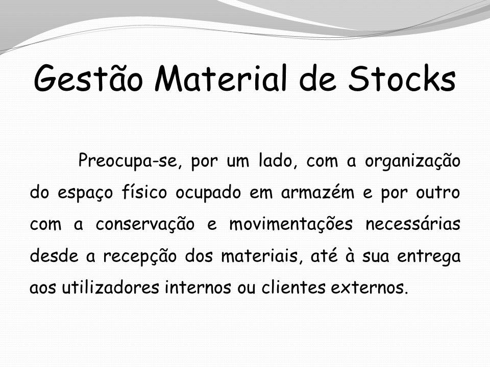 Gestão Material de Stocks Preocupa-se, por um lado, com a organização do espaço físico ocupado em armazém e por outro com a conservação e movimentaçõe
