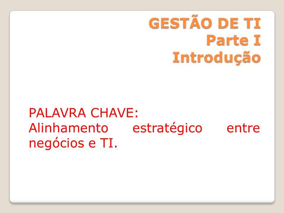 GESTÃO DE TI Parte I Introdução PALAVRA CHAVE: Alinhamento estratégico entre negócios e TI.