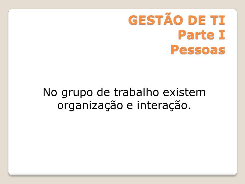 GESTÃO DE TI Parte I Pessoas No grupo de trabalho existem organização e interação.