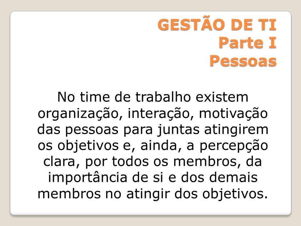 GESTÃO DE TI Parte I Pessoas No time de trabalho existem organização, interação, motivação das pessoas para juntas atingirem os objetivos e, ainda, a
