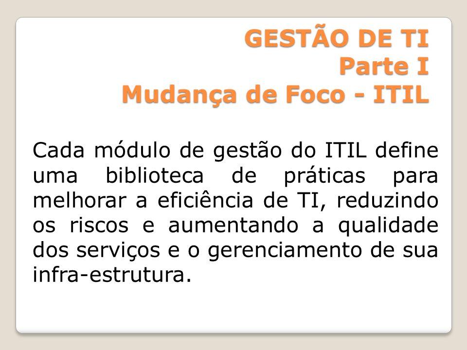GESTÃO DE TI Parte I Mudança de Foco - ITIL Cada módulo de gestão do ITIL define uma biblioteca de práticas para melhorar a eficiência de TI, reduzind