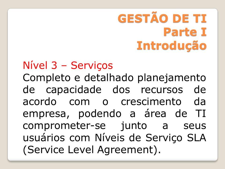 GESTÃO DE TI Parte I Introdução Nível 4 Valor O nível 4 é identificado quando o setor de TI de uma empresa está efetivamente a serviço das estratégias de negócio da organização e é capaz não só de entregar serviços de alta qualidade como também ajuda a empresa.