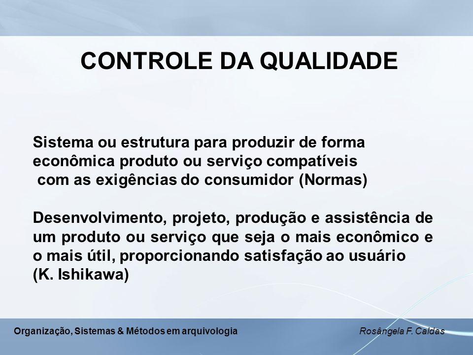 Organização, Sistemas & Métodos em arquivologia Rosângela F. Caldas CONTROLE DA QUALIDADE Sistema ou estrutura para produzir de forma econômica produt