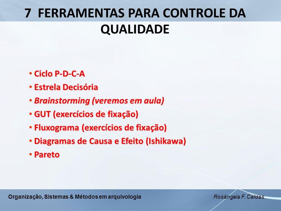 Organização, Sistemas & Métodos em arquivologia Rosângela F. Caldas 7 FERRAMENTAS PARA CONTROLE DA QUALIDADE Ciclo P-D-C-A Ciclo P-D-C-A Estrela Decis