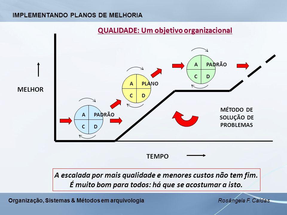 Organização, Sistemas & Métodos em arquivologia Rosângela F. Caldas QUALIDADE: Um objetivo organizacional C APADRÃO D A CD PLANO DC APADRÃO MELHOR TEM