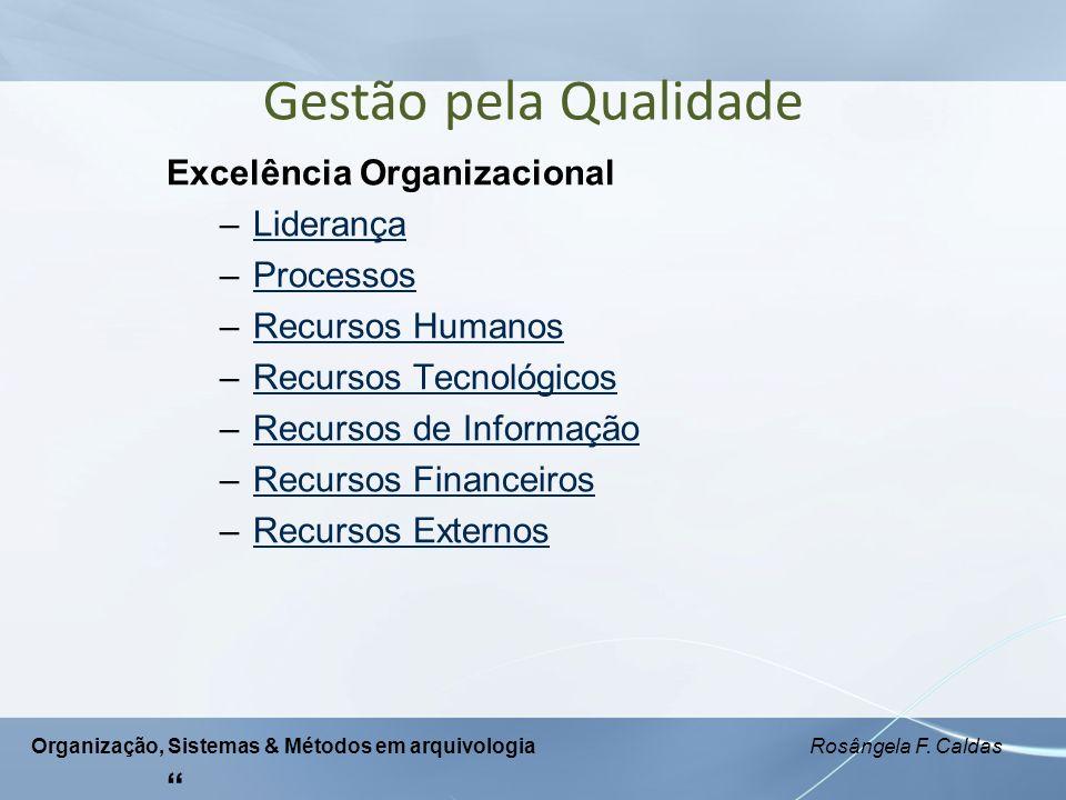 Organização, Sistemas & Métodos em arquivologia Rosângela F. Caldas Excelência Organizacional –LiderançaLiderança –ProcessosProcessos –Recursos Humano