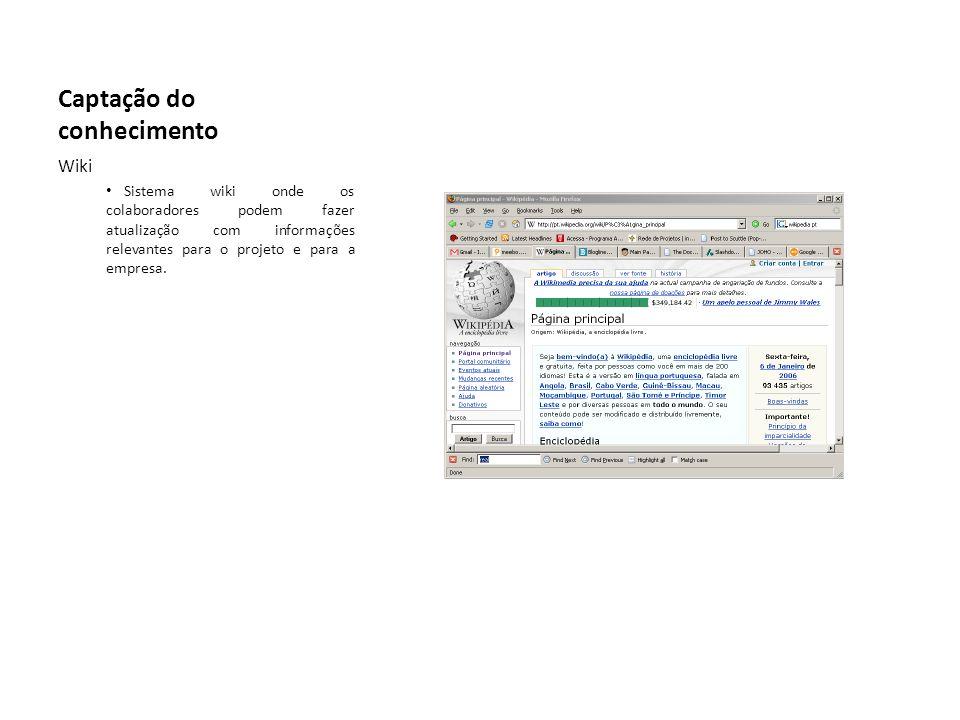 Captação do conhecimento Wiki Sistema wiki onde os colaboradores podem fazer atualização com informações relevantes para o projeto e para a empresa.
