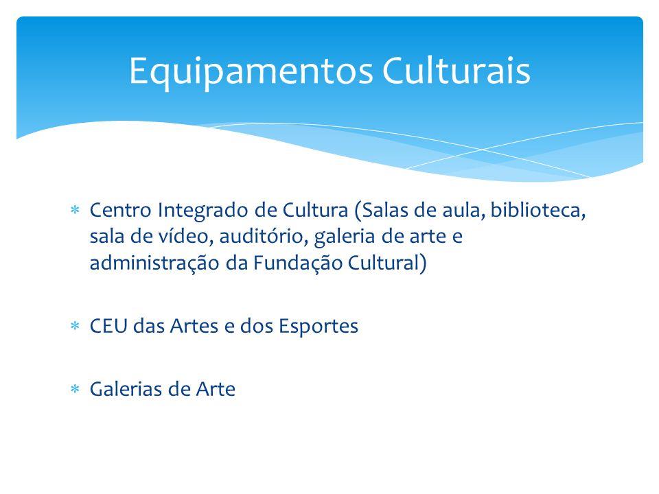 Centro Integrado de Cultura (Salas de aula, biblioteca, sala de vídeo, auditório, galeria de arte e administração da Fundação Cultural) CEU das Artes e dos Esportes Galerias de Arte Equipamentos Culturais
