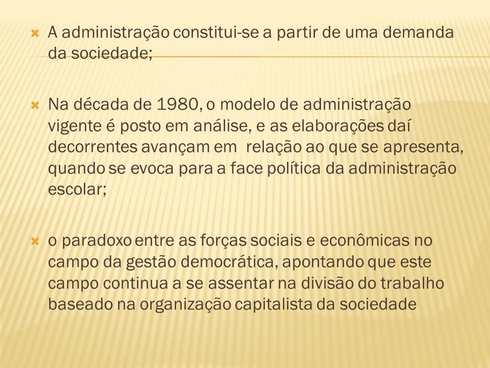 A administração constitui-se a partir de uma demanda da sociedade; Na década de 1980, o modelo de administração vigente é posto em análise, e as elabo