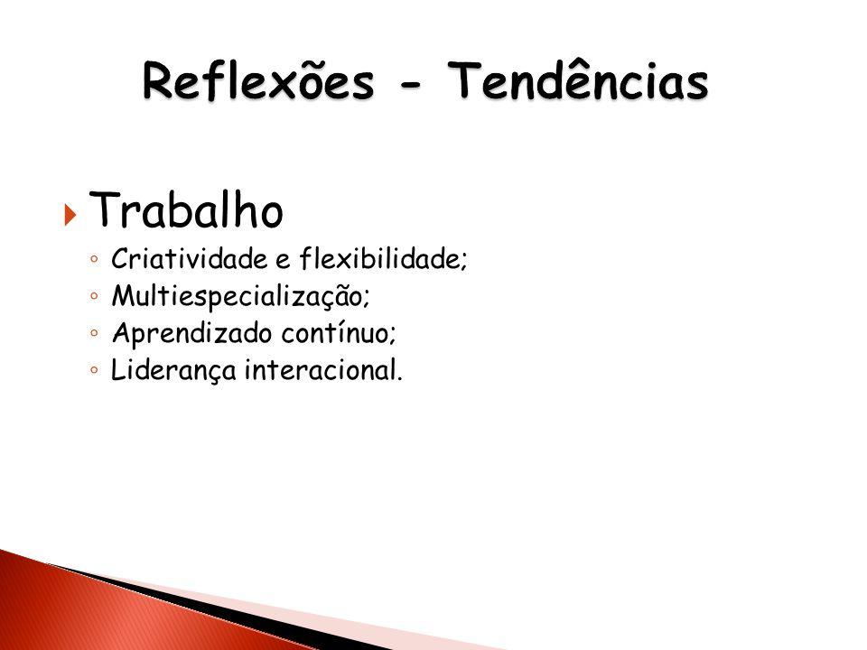 Trabalho Criatividade e flexibilidade; Multiespecialização; Aprendizado contínuo; Liderança interacional.
