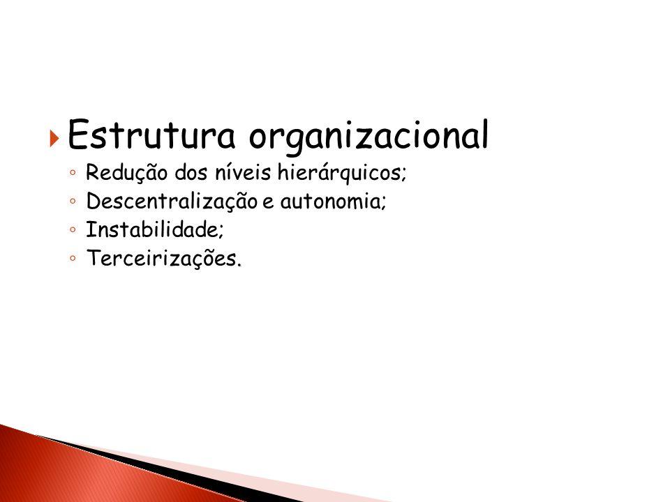 Estrutura organizacional Redução dos níveis hierárquicos; Descentralização e autonomia; Instabilidade;. Terceirizações.