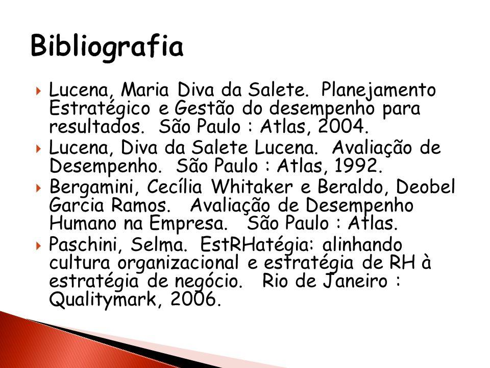 Lucena, Maria Diva da Salete. Planejamento Estratégico e Gestão do desempenho para resultados. São Paulo : Atlas, 2004. Lucena, Diva da Salete Lucena.