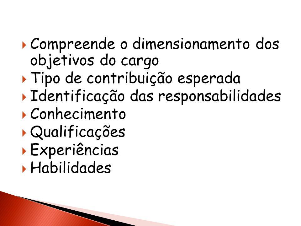 Compreende o dimensionamento dos objetivos do cargo Tipo de contribuição esperada Identificação das responsabilidades Conhecimento Qualificações Exper