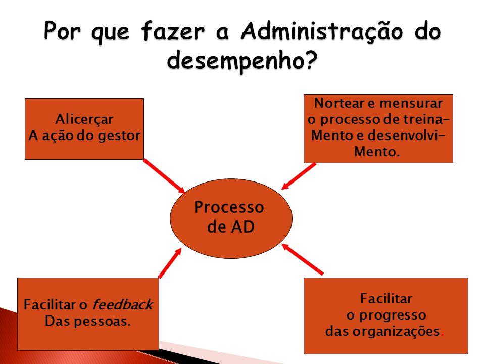 Processo de AD Alicerçar A ação do gestor Nortear e mensurar o processo de treina- Mento e desenvolvi- Mento. Facilitar o feedback Das pessoas. Facili